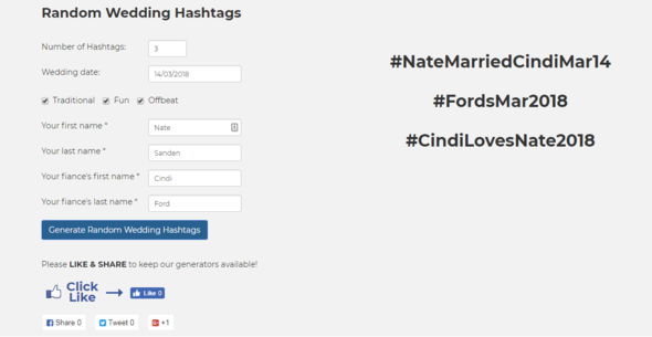 Wedding Hashtags Generator.The Perfect Wedding Hashtag Hashtag Picker